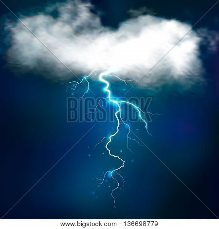 Storm effects background with bright thunderbolt from white illuminated cloud on night sky vector illustration