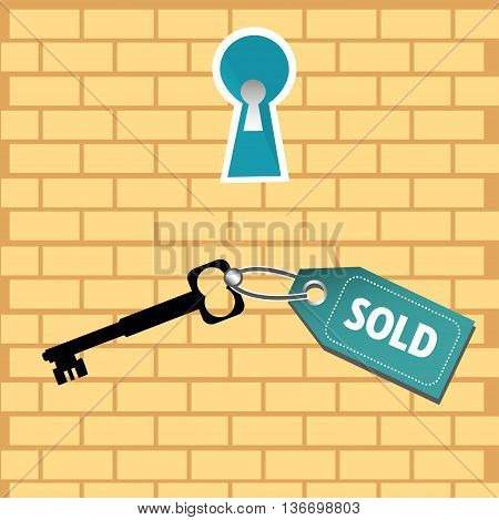 Colorful background with a keyhole and a key with the text sold. Real estate sales concept