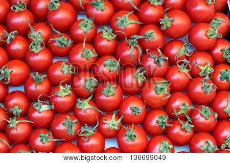 Deluxe Cherry tomatoes. Close up Top view High resolution product.