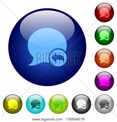 Set of color Reply blog comment glass web buttons.