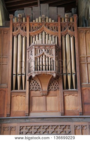 The Pipes of a Classic Church Music Organ.