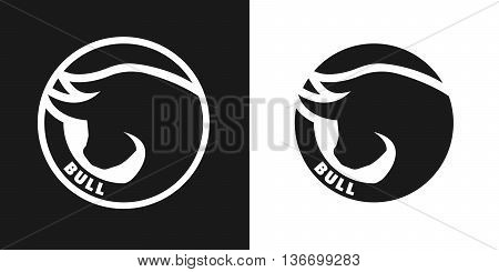 Silhouette of an bull, monochrome logo on dark and white background.