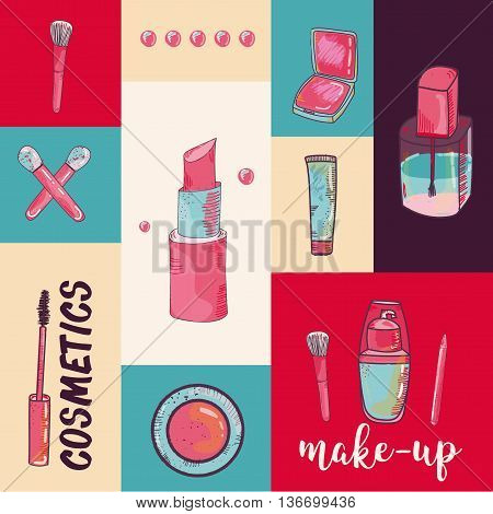 Colorful cosmetic items banner isolated on colorful background. Top view. Make-up illustration