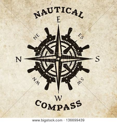 Steering wheel and compass. Marine navigation symbol logo.