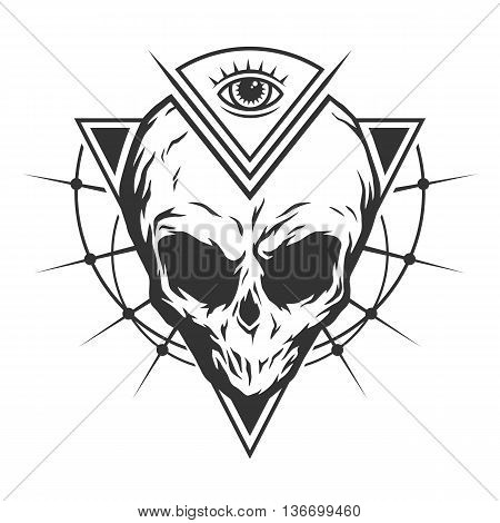 The skull is an alien and all-seeing eye with geometric elements.