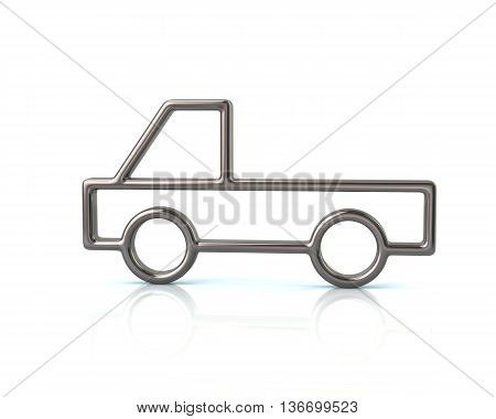 3D Illustration Of Silver Pickup Car Icon