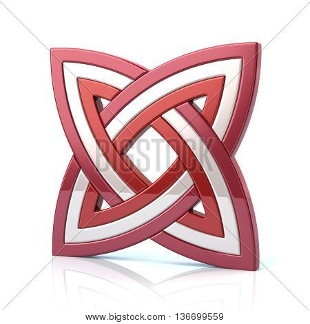 3D Illustration Of Red And White Knot Design