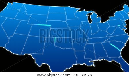 Illustrated 3d Map of the USA