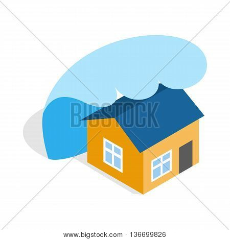 Big wave of tsunami over the house icon in isometric 3d style on a white background