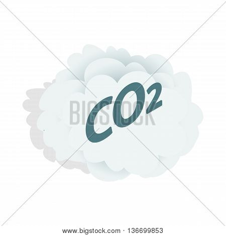 CO2 cloud icon in isometric 3d style on a white background