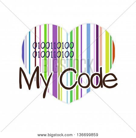 My code. Heart colored barcode and text. Vector illustration.