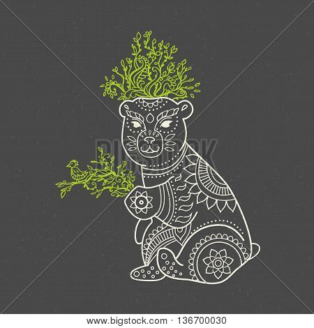 Ornament bear vector. Beautiful illustration bear for design, print clothing, stickers, tattoos, Adult Coloring book. Hand drawn animal illustration. Bohemian bear lace