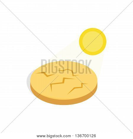 Drought cracked desert landscape icon in isometric 3d style on a white background