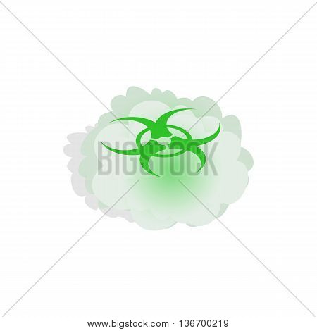 Cloud with biohazard symbol icon in isometric 3d style on a white background