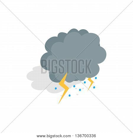 Cloud, lightning and hail icon in isometric 3d style on a white background