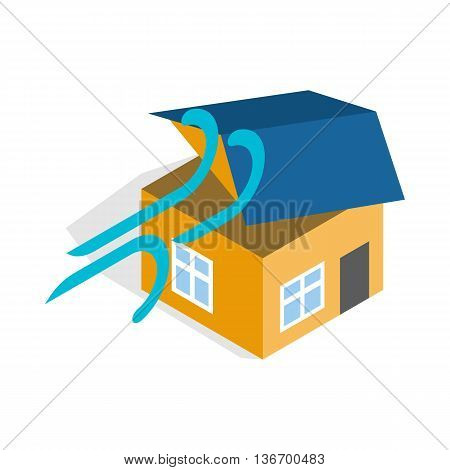 Hurricane destroyed house icon in isometric 3d style on a white background