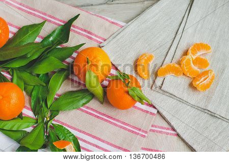Ripe Tangerines On Canvas Background, Faded