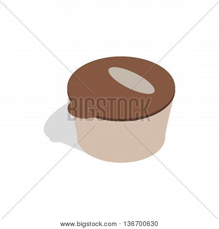 Brown plastic container for food storage icon in isometric 3d style on a white background