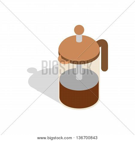 French press coffee maker icon in isometric 3d style on a white background