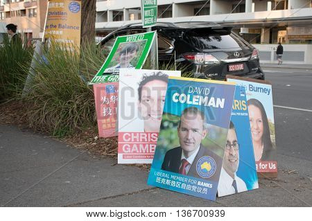 2016 JUL 2: Hurstville NSW suburb of Sydney Banks and Barton voting district polling areas - A pile of candidate posters prepared for the arriving voters. Australian Federal elections 2016