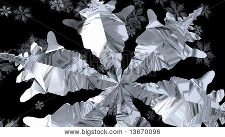 Large 3d silver Snowflake Falling from he sky