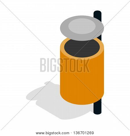 Outdoor orange bin icon in isometric 3d style on a white background