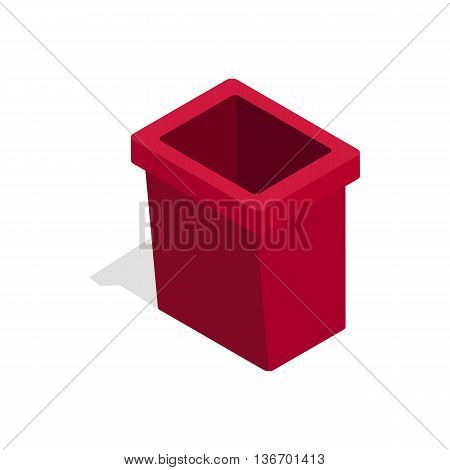 Burgundy trash bin icon in isometric 3d style on a white background