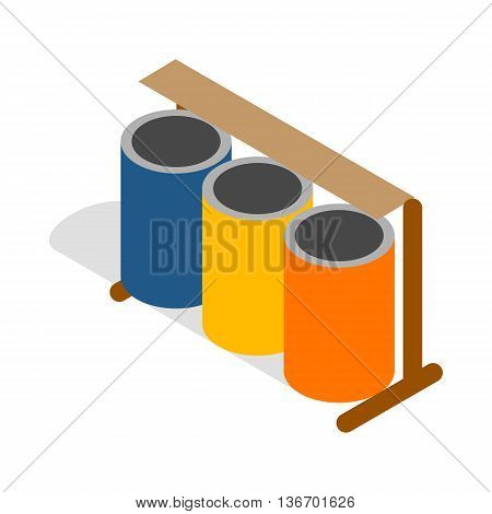Three colorful selective trash cans icon in isometric 3d style on a white background