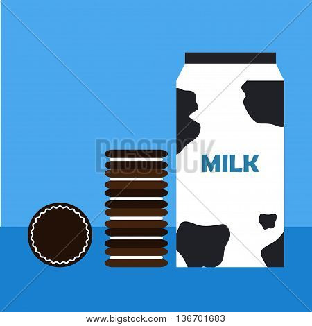 Milk carton and chocolate cookies Chocolate cookies with filling and package of milk on blue background. Flat design