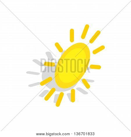 Sun icon in isometric 3d style on a white background