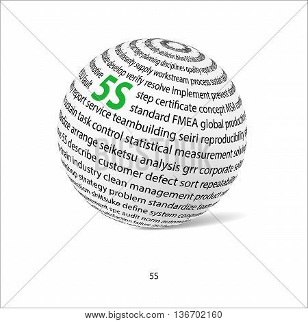 Five S word ball. White ball with main title 5S and filled by other words related with 5S method. Vector illustration