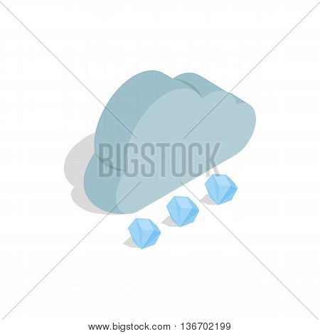Cloud and hail icon in isometric 3d style on a white background