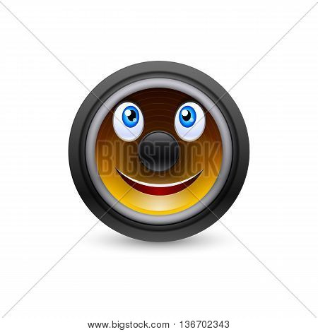Musical dynamics with smiling face isolated on white background