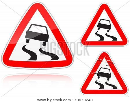 Set of Variants A Slippery Road - Road Sign