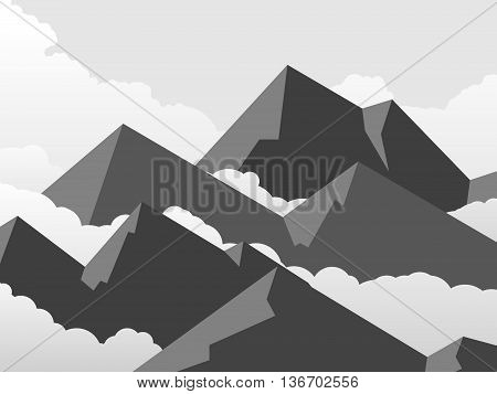 Horizontal vector illustration of simple cartoon mountains with cloudy sky.