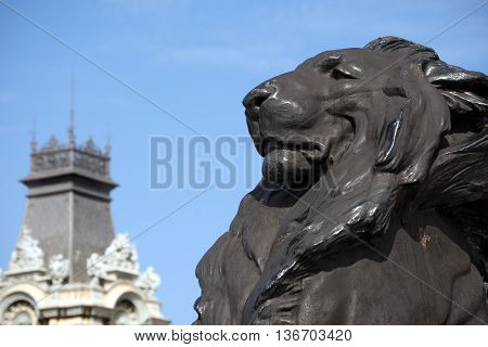 Detail of Column of Barcelona Spain with the black lion. Monument dedicated to the famous Italian navigator Cristoforo Colombo (Christopher Columbus)