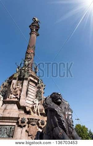 The Column of Barcelona Spain. Monument dedicated to the famous Italian navigator Cristoforo Colombo (Christopher Columbus)