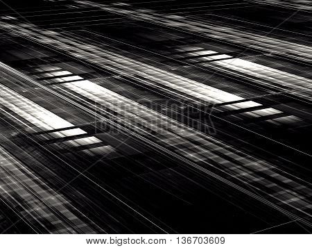 Abstract technology black and white background - computer-generated image. Rectangular grid with perspective and light effects. Fractal background for web design, posters, covers