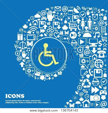 Disabled Sign Icon. Human On Wheelchair Symbol. Handicapped Invalid Sign . Nice Set Of Beautiful Ico