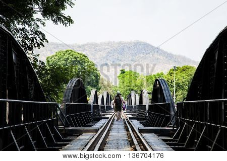 The famous Bridge on the river kwai Kanchanaburi provinceThailand