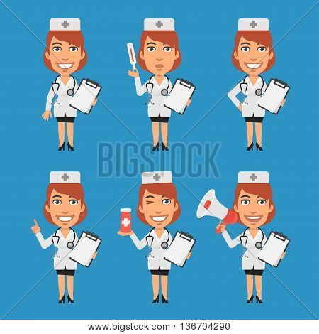 Vector Illustration, Woman Doctor Holds Notebook Tablet Thermometer Megaphone, Format EPS 8