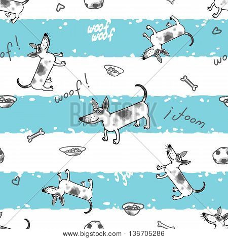 Some funny little dogs the seamless vector pattern