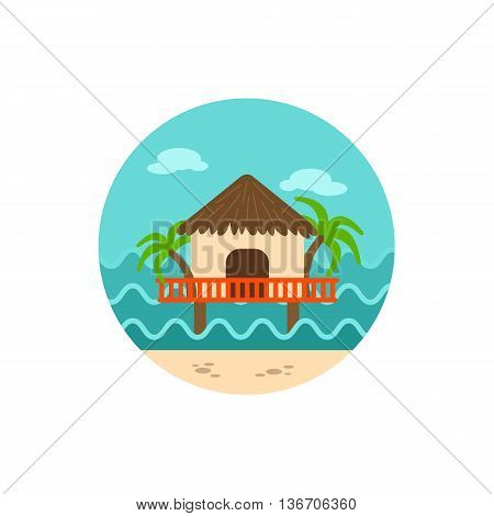 Bungalow with palm trees vector icon. Beach. Summer. Summertime. Holiday. Vacation eps 10
