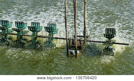 Simple Water Treatment through Water Turbines Supplying Fish Pond with Oxygen. Plastic paddles on an axle rotating in the water bringing air into it.