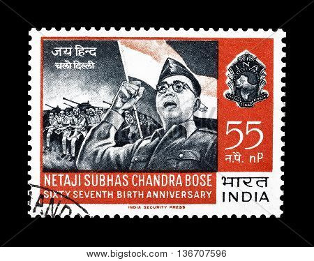 INDIA - CIRCA 1967 : Cancelled postage stamp printed by India, that shows Netaji Subhas Chandra Bose.