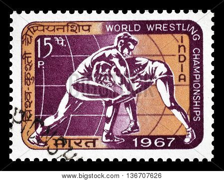 INDIA - CIRCA 1967 : Cancelled postage stamp printed by India, that shows Wrestling.