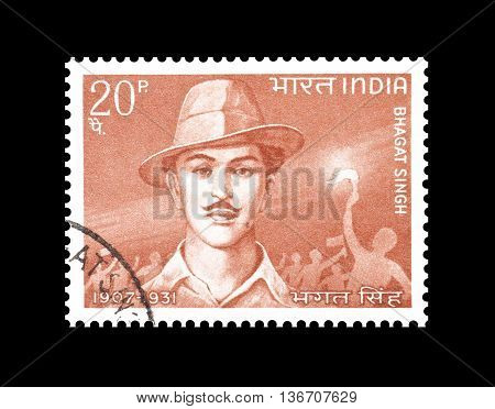 INDIA - CIRCA 1968 : Cancelled postage stamp printed by India, that shows Bhagat Sing.