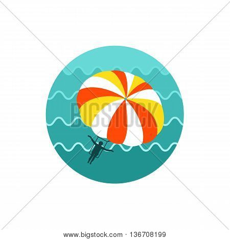 Parasailing. Summer kiting activity vector icon. Beach. Summer. Summertime. Holiday. Vacation eps 10