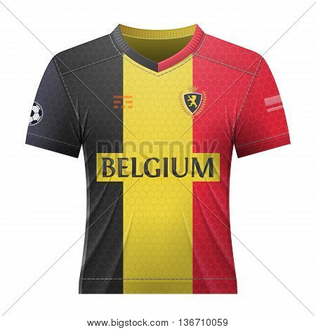 Soccer shirt in belgian colors. National jersey for football team of Belgium. Qualitative vector illustration about soccer, sport game, football, championship, national team, gameplay, etc