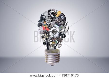 Auto spare parts items in bulb idea. New original equipment spare parts make bulb idea. Many auto spare parts. OEM spare parts in bulb. Auto parts like idea.
